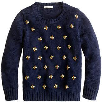 J.Crew Girls' jeweled daisy sweater