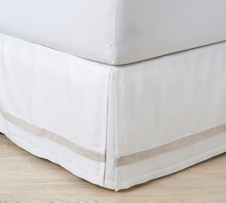 Belgian Flax Linen Contrast Flange Bed Skirt - White
