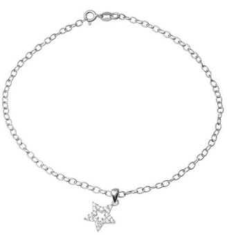 Journee Collection 1/2 CT. T.W. Round Cut Cubic Zirconia Prong Set Star Pendant Chain Anklet in Sterling Silver - Silver