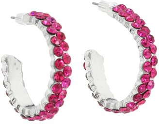 Nocona Small Crystal Hoop Earrings (Pink) - Jewelry