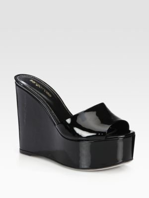 Sergio Rossi Lakeesha Patent Leather Platform Sandals