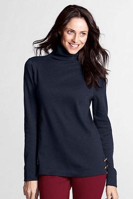 Lands' End Women's Regular Long Sleeve Wool Ponté Button Funnelneck