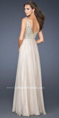 La Femme Sequined V-neck Bodice A-line Evening Dress