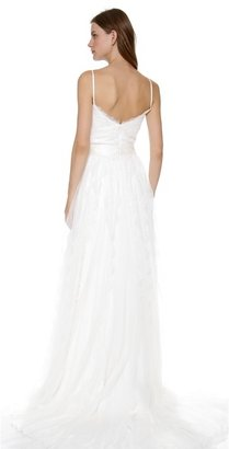 Marchesa Scallop Lace Gown with Bow Detail