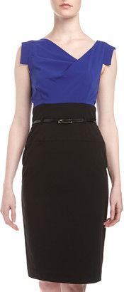 Neiman Marcus Colorblock Belted Combo Dress, Cobalt