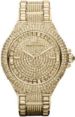 Michael Kors Mid-Size Golden Stainless Steel Camille Three-Hand Glitz Watch