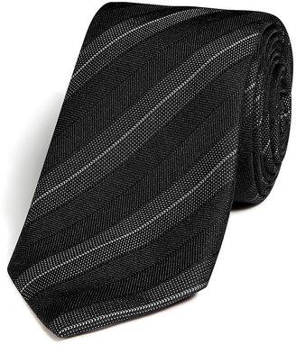 Jil Sander Wool-Silk Diagonal Stripe Tie in Black