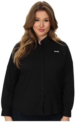Columbia Plus Size Tamiamitm II L/S Shirt (Black) Women's Long Sleeve Button Up