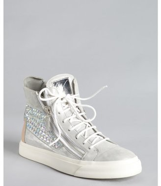 Giuseppe Zanotti silver shimmer leather crystal zip high-top sneakers