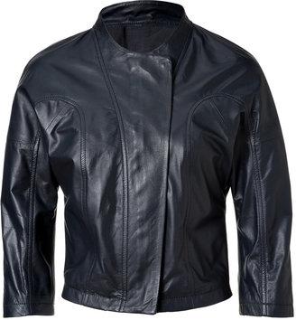 See by Chloe Black Cropped Sleeve Leather Jacket