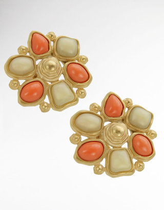 T Tahari Coral and Ivory-Colored Stone Clip-On Earrings