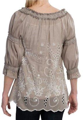 True Grit Cotton-Silk Ruffled Eyelet Shirt - 3/4 Sleeve (For Women)