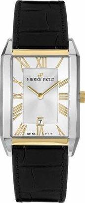 Pierre Petit Men's P-778B Serie Paris Two-Tone Rectangular Black Leather Date Watch