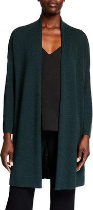 Eileen Fisher Organic Linen Stretch Crepe Bracelet-Sleeve Cardigan
