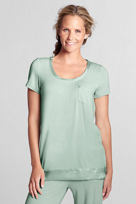 Lands' End Women's Regular Short Sleeve Rayon Scoopneck Sleep Top