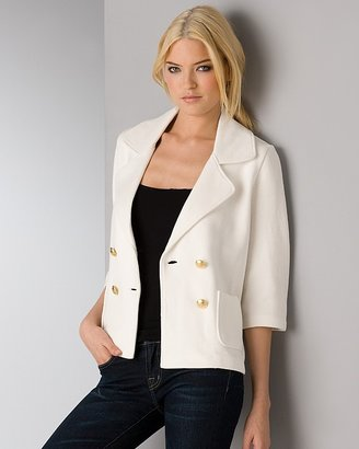 525 America Quotation Double Breasted Blazer in Ivory