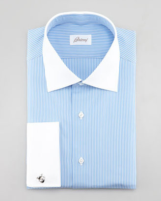 Brioni Contrast-Collar Striped Dress Shirt, Light Blue