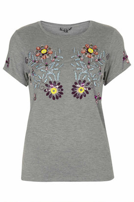 Topshop Grey marl tee with flower embroidery and embellishment. 96% viscose,4% elastane. machine washable.