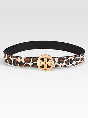 Tory Burch Animal Printed Leather Logo Belt