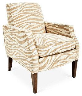 Homeware Olsen Zebra Accent Chair, Tan/Beige