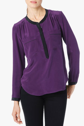 7 For All Mankind Contrast Tipped Henley Blouse In Deep Plum