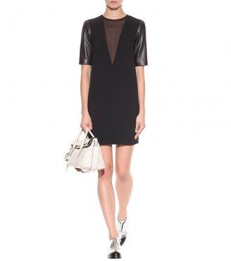 Miu Miu Leather-sleeved crepe dress