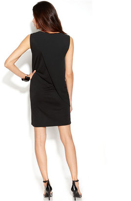 DKNY DKNYC Sleeveless Draped Faux-Wrap Dress