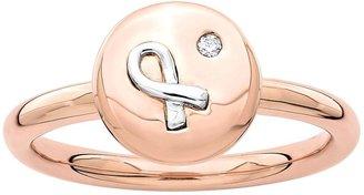 Simply Stacks Sterling Two-Tone Rose AwarenessRibbon Ring