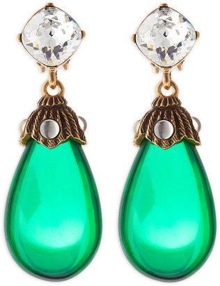 Oscar de la Renta Crystal Resin Drop Clip-On Earrings, Kelly Green