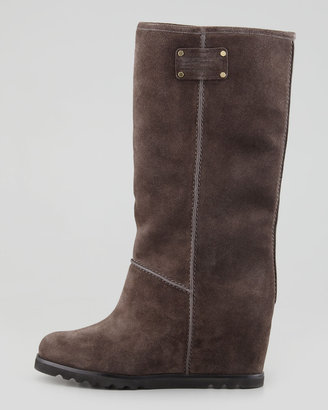 Marc by Marc Jacobs Standard Supply Logo Suede Wedge Knee Boot, Gray