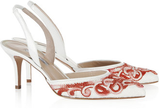 Oscar de la Renta Enklare embroidered tweed and patent-leather slingbacks