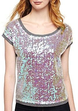 JCPenney a.n.a® Short-Sleeve Sequin-Front Sweater