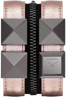 Karl Lagerfeld Double Strap Cuff Watch Blush/ Gunmetal