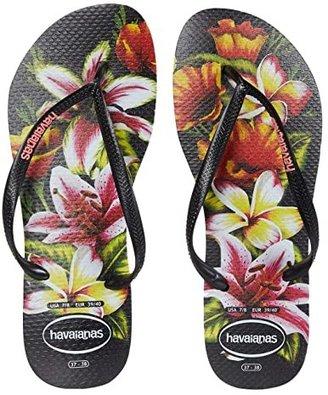 Havaianas Slim Floral Flip Flop (Black/Black) Women's Sandals