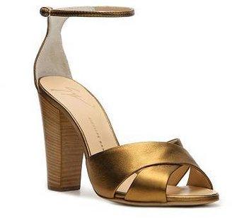 Giuseppe Zanotti Metallic Leather Peep Toe Sandal