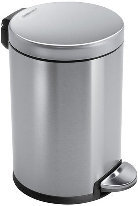 Simplehuman Round Step Trash Can, Fingerprint-Proof, Brushed Stainless Steel, 4.5 L