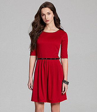 Catch My I Belted Elbow-Sleeve Dress
