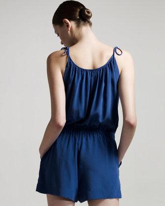 Theory Tie-Shoulder Short Jumpsuit, Blue