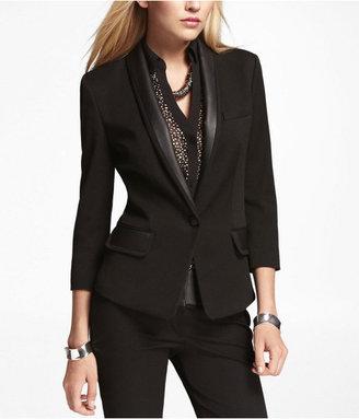 Express Faux Leather Trimmed Bracelet Sleeve Jacket