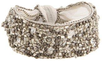 Chan Luu Silk Chiffon Bracelet Trimmed w/ Chain, Crystal, Glass Beads (Sand Dollar) - Jewelry