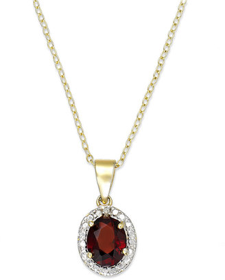 Townsend Victoria 18k Gold over Sterling Silver Necklace, Garnet (1-3/8 ct. t.w.) and Diamond Accent Oval Pendant