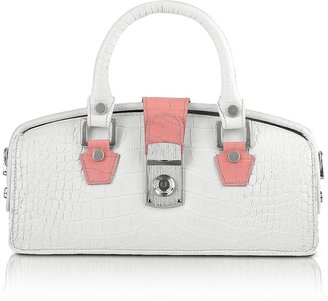 L.a.p.a. Ivory Croco-embossed Mini Doctor Bag