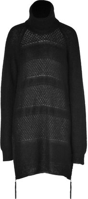 Rika Black Hand Knit Mohair-Blend Pullover