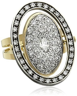 "Moritz Glik New Wave"" 18K and 14k Gold and Diamond Orbit Ring, Size 7"