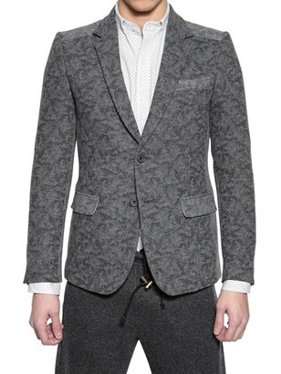 Wood & Camouflage Print Wool Jacket