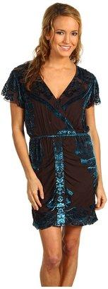 Hale Bob Exotic Holiday Burnout Dress (Blue) - Apparel