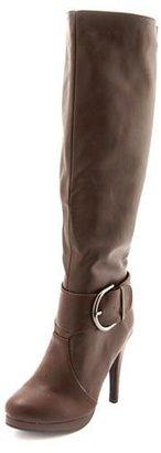 Charlotte Russe Large Buckle Knee-High Heel Boot