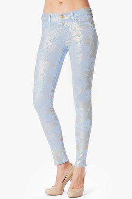 """7 For All Mankind The Skinny In Light Cerulean Floral Sprayed Lace (29"""" Inseam)"""