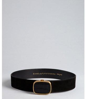 Diane von Furstenberg black suede 'Leon' croc embossed patent leather buckle belt