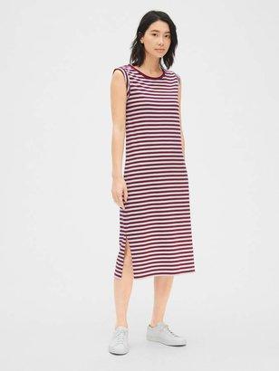Gap Roll-Cuff Stripe Midi T-Shirt Dress